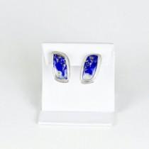 Lapis Omega Clip Earrings in Sterling Silver
