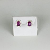 Ruby faceted stone earrings in Sterling Silver