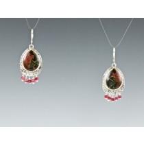 Red Creek Jasper Earrings with Ruby Beads in Sterling silver