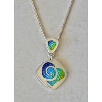 Champlevé Asymmetric Heart with Swirl necklace