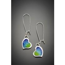 Champlevé Asymmetric Heart Earrings