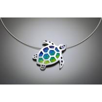 Champlevé Sea Turtle necklace
