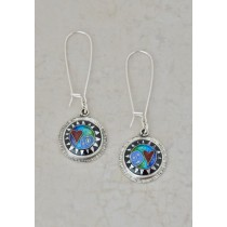 Cloisonné Abstract Earrings with Heart, Round