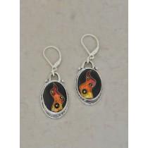 Cloisonné Oval Abstract Earrings