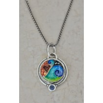 Cloisonné Abstract Heart with Swirl, Round